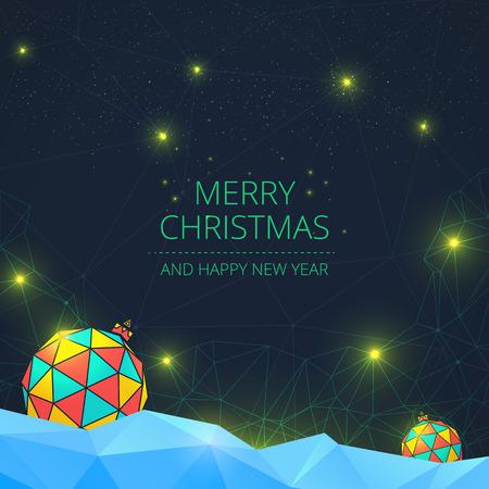 creative: Merry Christmas modern greeting card. Christmas balls on a polygonal background with shining stars. Vector