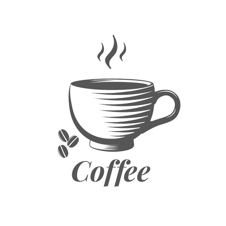 Cup of coffee elegant vector illustration. Coffee beans