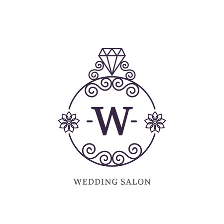 jewellery: Elegant wedding monogram for shop, salon, jewelry. Vector illustration