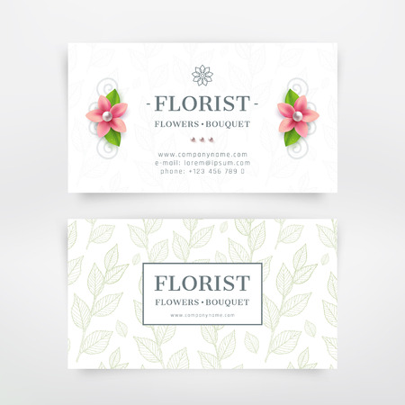 Florist business card design. With flower and branch with leaves background. Vector template