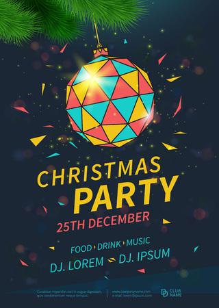 Kerstfeest flyer design template. vector illustratie