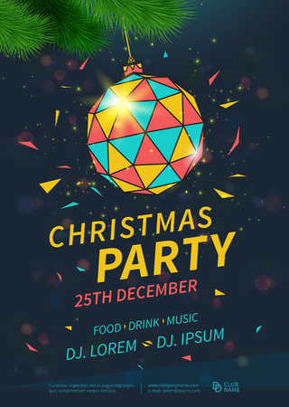 Christmas party flyer design template. Vector illustration
