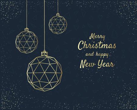 geometria: Diseño de la tarjeta de felicitación de Navidad feliz con bola de Navidad estilizada. Ilustración vectorial