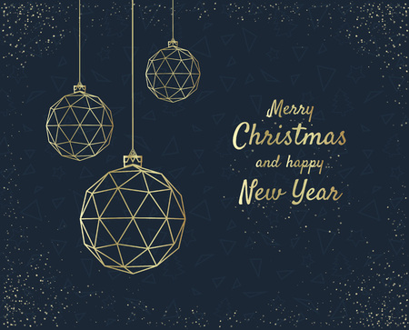 Merry Christmas greeting card design with stylized christmas ball. Vector illustration