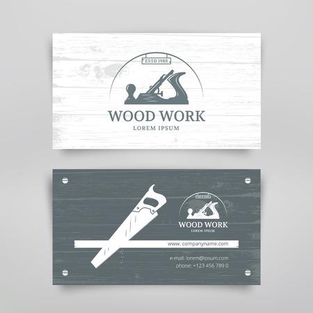 herramientas de carpinteria: Estilo vintage plantilla de tarjeta de diseño artesanía en madera. Herramientas de carpintería. Vector Vectores
