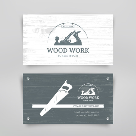 workshop: Woodwork vintage style business card design template. Carpentry tools. Vector