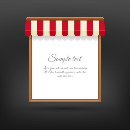 an awning: Store striped awning banner of wood. Blank frame for menu cafe. Vector illustration Illustration
