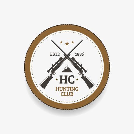 vintage rifle: Vector vintage logo or emblem for the hunting club. Rifle and mountain silhouette.