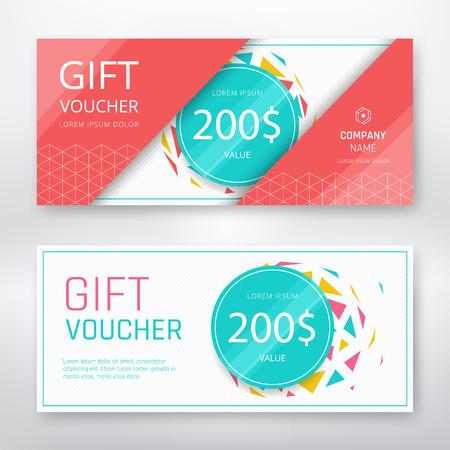 Gift voucher modern design template. Vector illustration Illustration