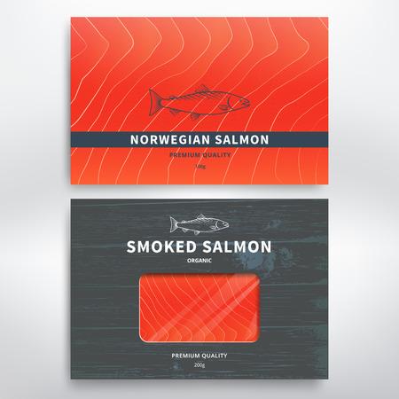 plantilla de diseño de envases para el salmón ahumado y congelado. Ilustración de vector