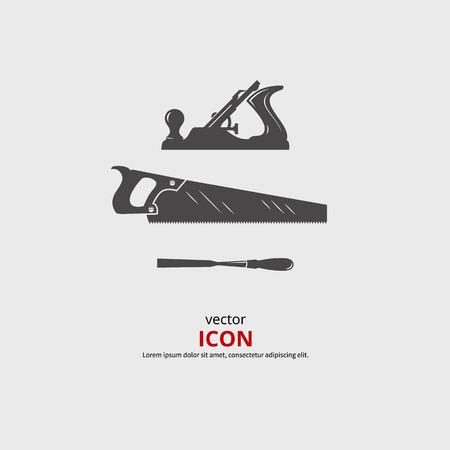 L'outil du bois icônes. vecteur Carpentry silhouette noire