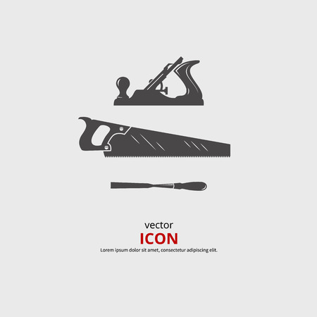Woodworking tools icons. Carpentry vector black silhouette