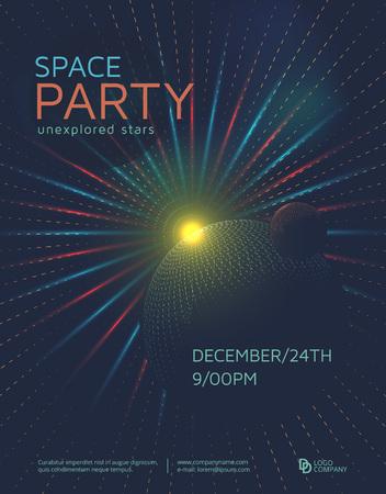 Space partij poster design template. Futuristische ruimte achtergrond met planeten.