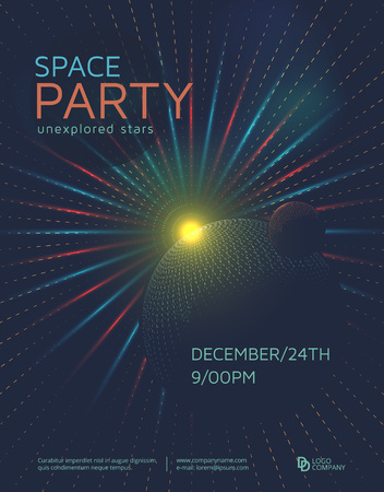 Space party poster design template. Futuristic space background with planets.
