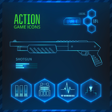Icons set weapons for the game in the genre of shooter or action. Shotgun icon.  Иллюстрация