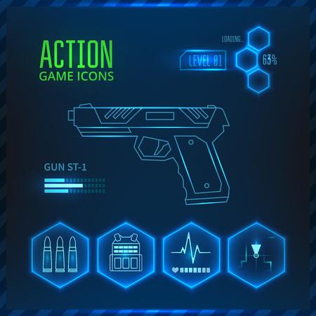 アイコンは、アクション シューティング ゲームのジャンルでゲームのための武器を設定します。銃アイコン。  イラスト・ベクター素材