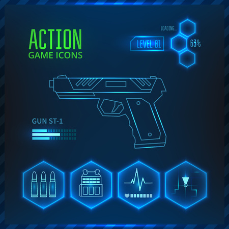 shooter: Icons set weapons for the game in the genre of shooter or action. Gun icon.