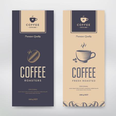 chicchi di caff?: Caffè Packaging Design. Vector modello di pacchetto per la progettazione. Vettoriali