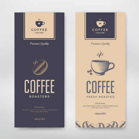 Coffee Packaging Design. Vector template package for your design. Çizim