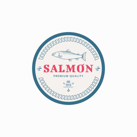 spawning: Vector fishing label with salmon fish. Emblem for the product.