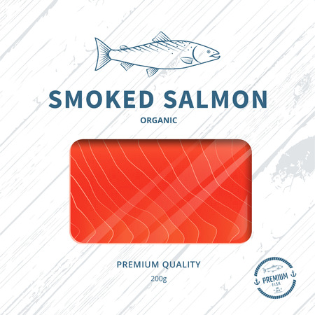 salmon fishing: Packaging design template for smoked salmon. Fish package. Illustration