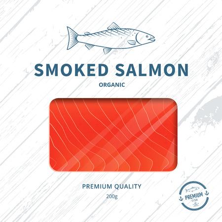 salmon ahumado: plantilla de diseño de envases para el salmón ahumado. paquete de peces. Vectores