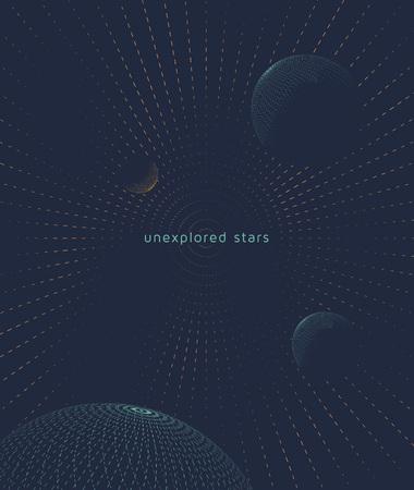 interstellar: Graphic space background with planets. Flight interstellar.  Illustration