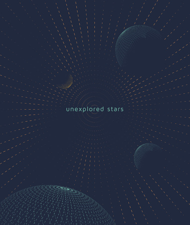 Graphic space background with planets. Flight interstellar.  Illustration