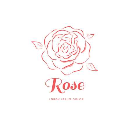 Rose in a linear style. Logo for a beauty salon. Vector illustration  イラスト・ベクター素材