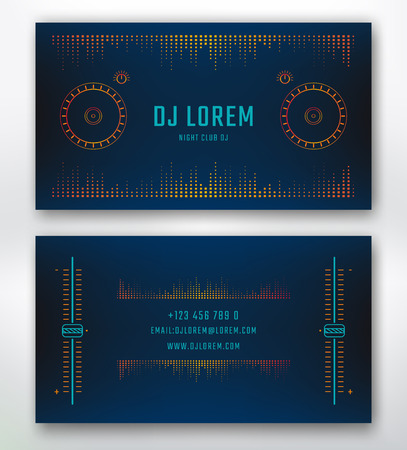 Business card for Dj or music studio, night club. Vector template with design elements dj control surface.