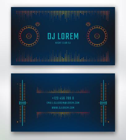 Dj や音楽スタジオ、ナイトクラブの名刺。デザイン要素 dj 舵面を有するベクトル テンプレート。
