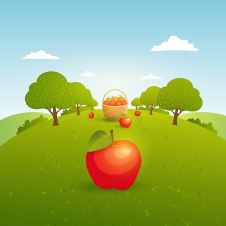 リンゴ園のある風景します。りんごを収穫します。ベクトル図