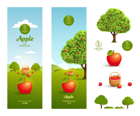 apple juice: Apple juice packaging design template with design elements on a white background. Illustration
