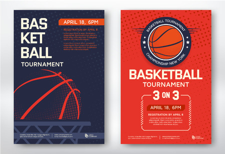 deporte: torneo de baloncesto de los deportes modernos carteles de diseño. Ilustración del vector. Vectores