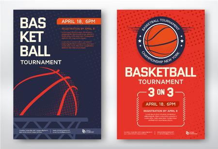 tournoi de basket-ball de conception sportives modernes affiches. Vector illustration. Vecteurs