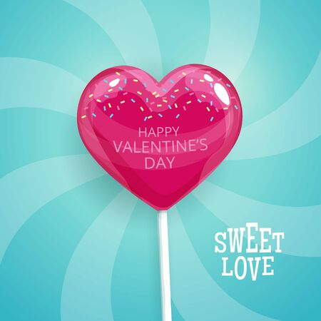souvenir: Pink candy on a stick in the form of heart. Happy Valentines Day postcard. Lollipop vector illustration.