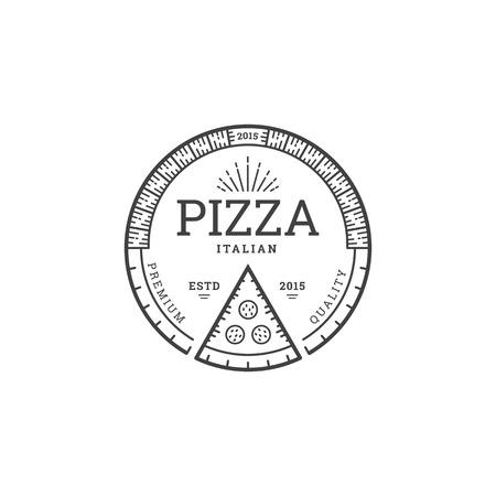 Modelo de la insignia de la pizza por cafetería o restaurante de estilo lineal. Diseño emblema para pizzería. Vector Ilustración de vector