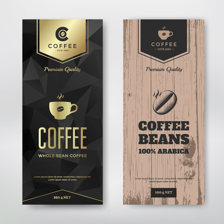 produce product: Packaging design for a coffee. Vector template. Modern and vintage style.