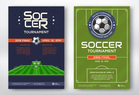 deporte: torneo de fútbol de los deportes modernos carteles de diseño. Ilustración del vector.