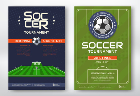 Soccer tournament modern sports posters design. Vector illustration.