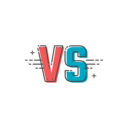 Versus letters logo. VS vector Illustration emblem in linear style.