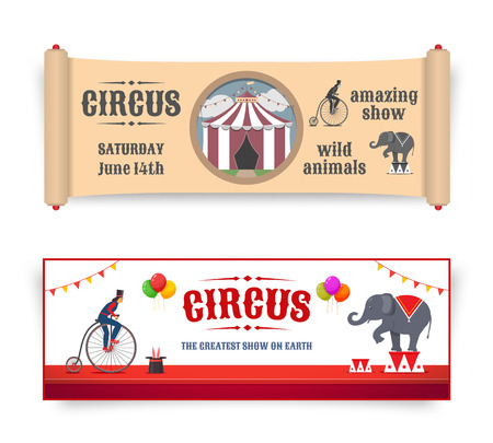 clown cirque: bannières de cirque illustrations dans le style rétro et plat. Vecteur