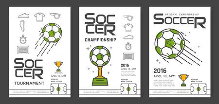 Soccer championship modern line posters design. Sport competition. Vector illustration. Ilustracja