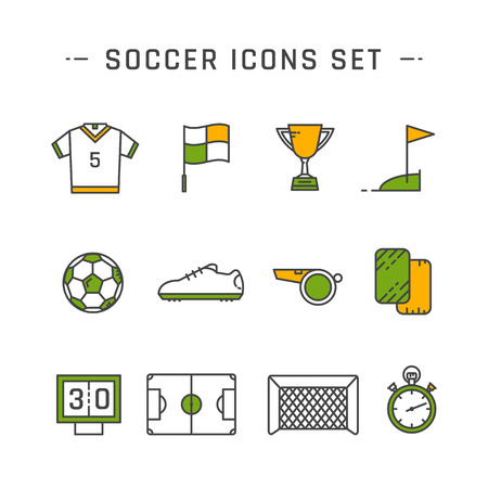 goal cage: Soccer line icons set design. Vector illustration