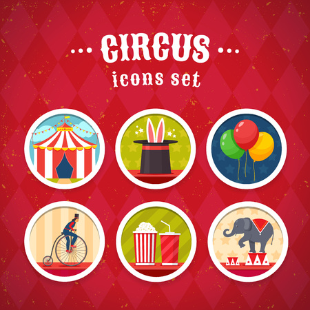 Circus icons set flat style design. Vector illustration. Illustration