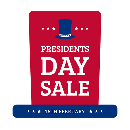 Presidents Day Sale. Sticker in the form of hats. Vector