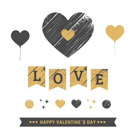 scratch card: Valentines day scratch graphic elements. Vector illustration.