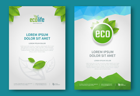 Eco brochure design vector template. Corporate poster with green leaves.
