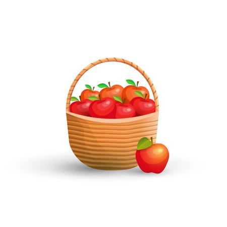 bushel: Wicker basket with red apples. illustration. Illustration