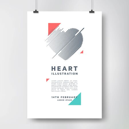 poster design: Modern poster design with heart.  template